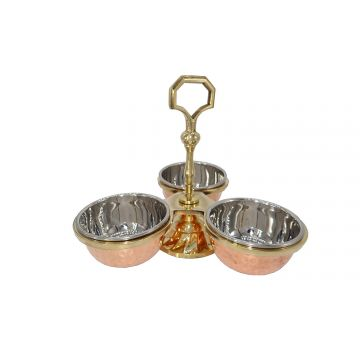Copper Pickle stand with 3 compartments ( Pack of 2 pcs)